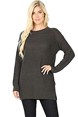 Sweaters for Women Long Sleeve Crewneck Pullover Waffle Knit Side Slit Loose Top -Ash Grey (Small)