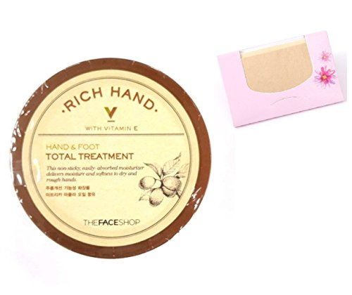 - The Face Shop Rich Hand V Hand & Foot Total Treatment 110ml/3.72 fl.oz.+ SoltreeBundle Oil blotting Paper 50pcs