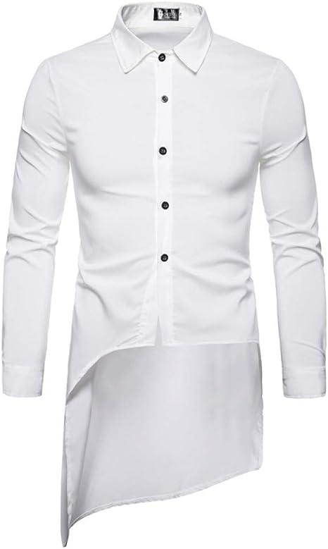 CHENS Camisa/Casual/Unisex/M Personalidad de la Moda de Ocio de los Hombres Extranjeros Sastre Larga Cola Larga Cuello Cuadrado Botón de Fila Camisa de Manga Larga: Amazon.es: Deportes y aire libre