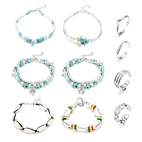Thunaraz 10Pcs Anklets Toe Rings Set for Women Girls Beach Anklet Bracelet Jewelry Anklet Set Adjustable Open Toe Ring