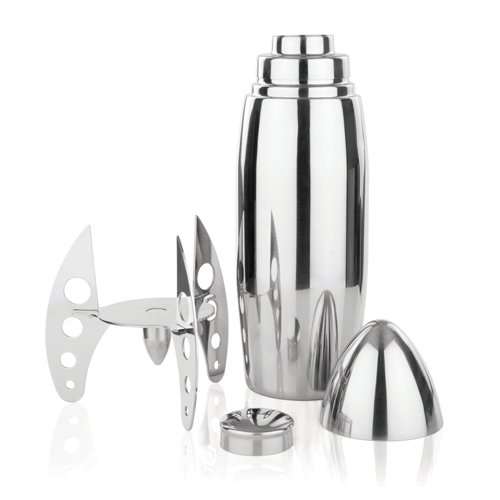 Irving Stainless Steel Rocket Cocktail Shaker by Viski – Cocktail Shaker with Strainer (24 oz. Capacity)