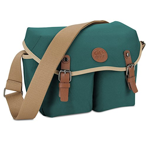 GOgroove DSLR Shoulder Messenger Bag (Green) for Mirrorless & Micro 4/3 Cameras w/7 Accessory Pockets, Adjustable Dividers, Tricot Lining & Shoulder Strap - Compatible w/Canon, Nikon, Sony and More