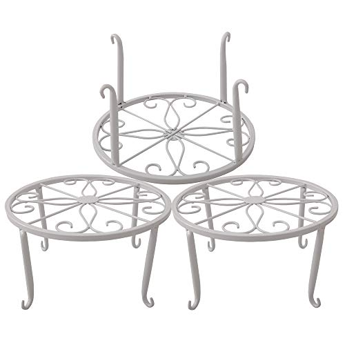 Metal Plant Stand Floor Flower Pot Rack Iron Art Plant Stands Pot Holder,3 Pieces in One Package (White)