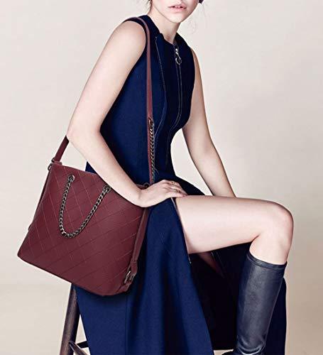 portés Rouge Cuir Vineux Sacs Sacs Sacs bandoulière Sacs épaule DEERWORD Kaki portés Femme Faux main Cartable vxXwgBq