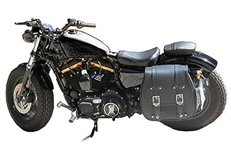 Bisaccia Borsa Sgancio Rapido Moto Montaggio Laterale Incavo Ammortizzatore Sinistro Harley Davidson Sportster XL 883 1200 Nightster Iron Custom Low