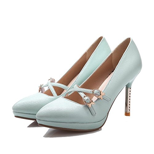 Solid Shoes WeiPoot Buckle Closed Cyan High PU Women's Pointed Pumps Heels Toe wvZYv