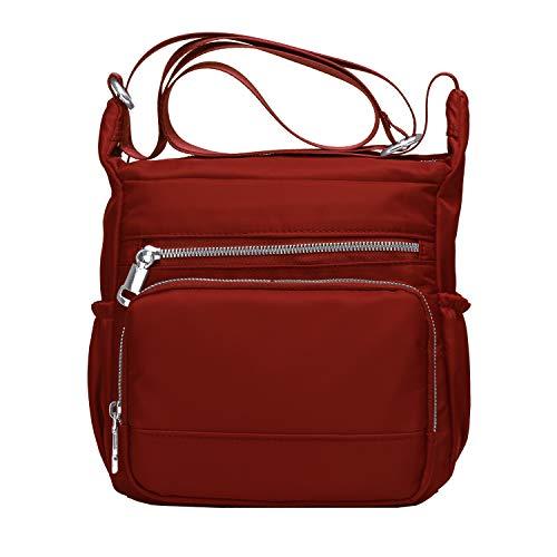 Purse and Handbags for Women,Volganik Rock Multi Pocket Crossbody Bag Nylon Pocketbooks Shoulder Side Bag (Red)