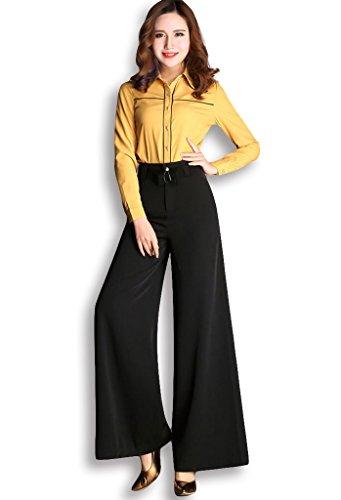 Lixmee Mujer Cintura Alta Color Sólido Loose Amplia Pierna Pantalones _06 Black