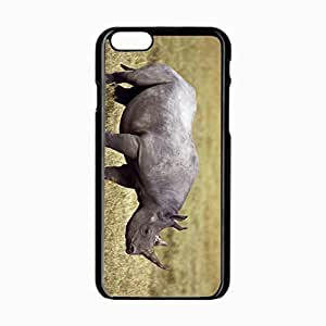 iPhone 6 Black Hardshell Case 4.7inch rhinoceros grass horn Desin Images Protector Back Cover