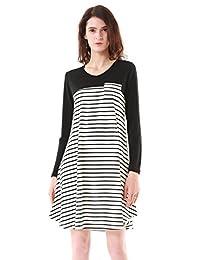 MiYang Women Long Sleeve Striped Floral Tunic T-shirt Dress A-line Trim Casual Dress