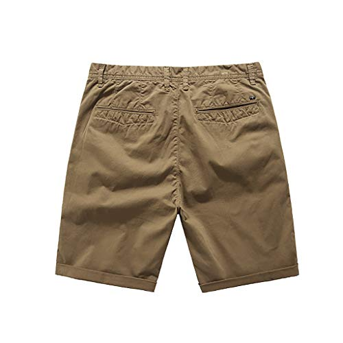 Pengy Mens Shorts Sports Casual Short Pants Trousers Military Cargo Summer Pocket Males Lightweight Comfort Stretch Oxford Short Brown
