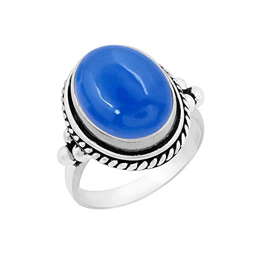 Genuine Large Oval Shape Chalcedony Solitaire Ring 925 Silver Plated Vintage Style Handmade Oxidized Finish for Women Girls (Size-7)