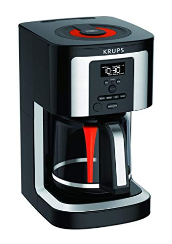 (KRUPS, EC322, 14-Cup Programmable Coffee Maker, Professional Permanent Gold-Tone, Thermobrew Technology, Black (Renewed) )