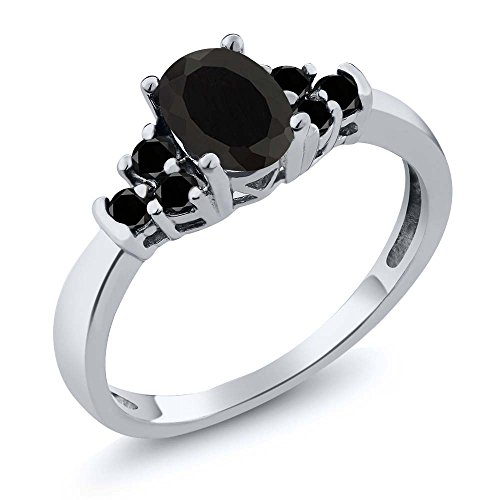 Gem Stone King Sterling Silver Oval Black Onyx & Black Diamond Women's Bridal Wedding Ring 0.59 cttw (Size 5)
