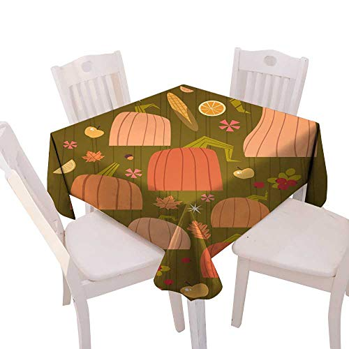 longbuyer Circular Table Cover Pumpkins Set Harvest Autumn Concept Vegetables and Fruits Collection Square Tablecloth W 50