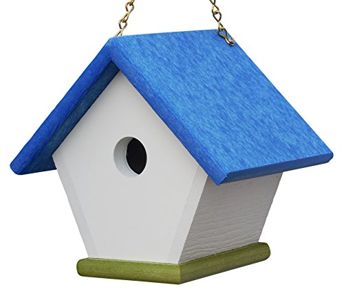 Hanging Wren House: Unique and Colorful Bird Houses Handmade from Eco Friendly Recycled Plastic Materials (Blue/Green)