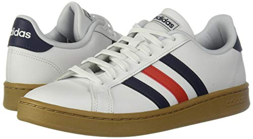 adidas mens Grand Court Tennis Shoe, White/Trace Blue/Active Red, 12 US