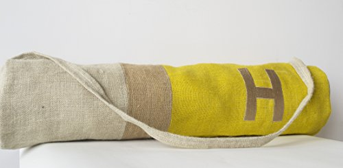 Amore Beaute Handcrafted Customizable Monogrammed Yoga Mat Bag in Yellow Burlap Color Block Design - Yoga Backpack - Yoga Accessories - Exercise Bag - Gift - Embroidered Bags - Gifts for Her