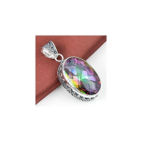 (66 Ct Huge Vintage Natural Rainbow Mystical Topaz Gemstone Solid Silver Pendant)