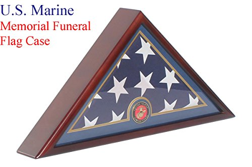 Memorial Case (DisplayGifts® Marine Corps Flag Display Case Box for Burial Funeral Memorial 5'X9.5
