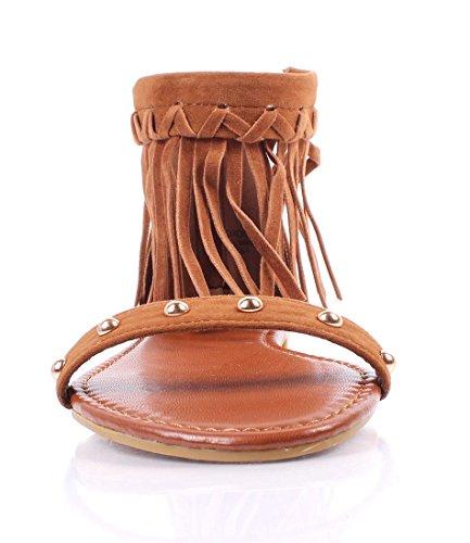Bambù Casuale Posteriore Strappy Cerniera Aperta Stile Increspato Scarpe Da Donna Sandali Taglia Scarpe Casual Nuove Senza Scatola Di Castagno