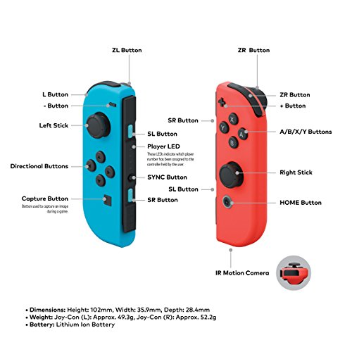 Nintendo Switch - Neon Red and Neon Blue Joy-Con