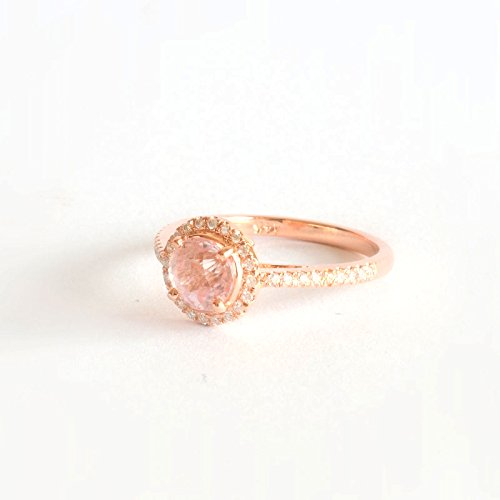 14k Rose Gold Engagement Ring with round peach sapphire with diamonds, Micro Pave Engagement Rings, Anniversary (Peach Sapphire)