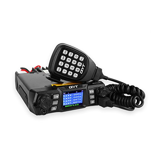 - QYT KT-980 Plus VHF 136-174mhz UHF 400-480mhz 75W Dual Band Base Mobile Car Radio Hamd Walkie Talkie Transceiver Amateur, Quad-standby + Programming Cable, Colorful LCD Display