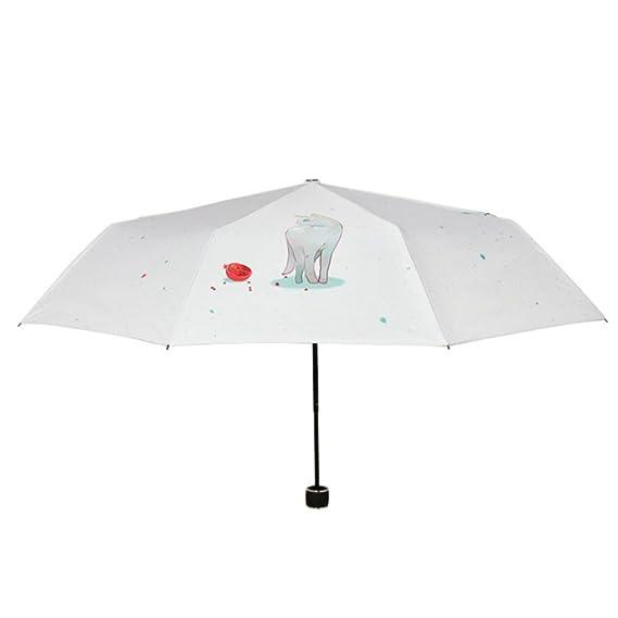 b38a24f1ce79 QCHOMEE Cat Willow 3 Folding Parasol Sun Protection Anti-UV Travel Umbrella