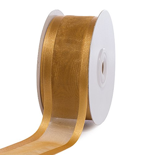 Creative Ideas 1-1/2-Inch Organza with Satin Edge Ribbon, 25 Yards, Antique Gold