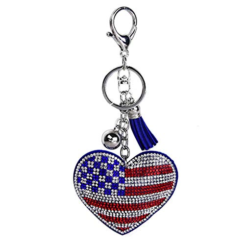 2 Pcs Sparkling Heart Shaped Rhinestone American Flag Pendant with Tassel Keychain for Purse Cars Decoration