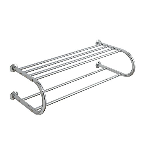 Organize It All Mounted Chrome Bathroom Shelf with Towel Rack