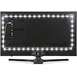 Power Practical Luminoodle LED TV Backlight | USB Bias Lighting - 6000K Accent and Home Theater Lighting to Reduce Eye Strain, Improve Contrast (X-Large (13 ft), White)