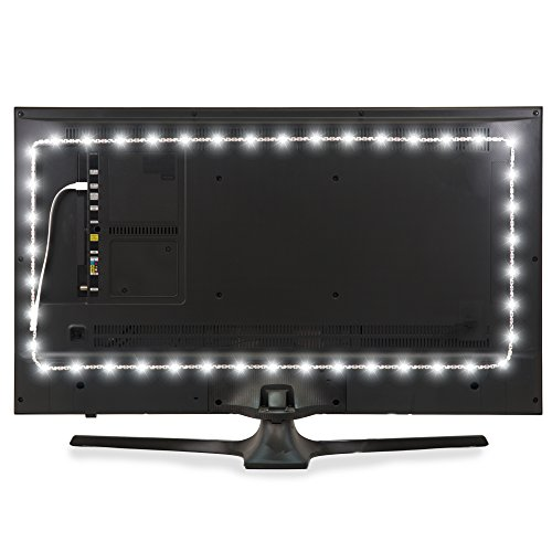 Luminoodle USB Bias Lighting - LED TV Backlight Strip - Ambient Home Theater Light, TV Accent Lighting to Reduce Eye Strain, Improve Contrast - White - XX-Large (60 - 80 TV)
