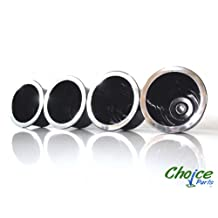 "Choice Parts - Sofa Cupholders - 3.25"" Deep X 4.375"" Wide - Black with Chrome Rim Cup Holders (Pack of 4) Great Replacement Beverage Holder for Couch, Loveseat, Recliner Chair, or Theatre Seating"