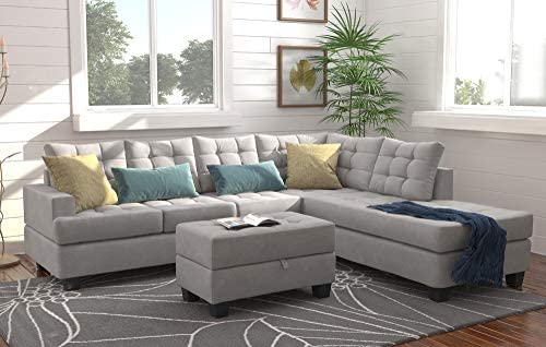 home, kitchen, furniture, living room furniture,  living room sets 2 image Merax Sectional Sofa with Chaise and Ottoman 3 promotion