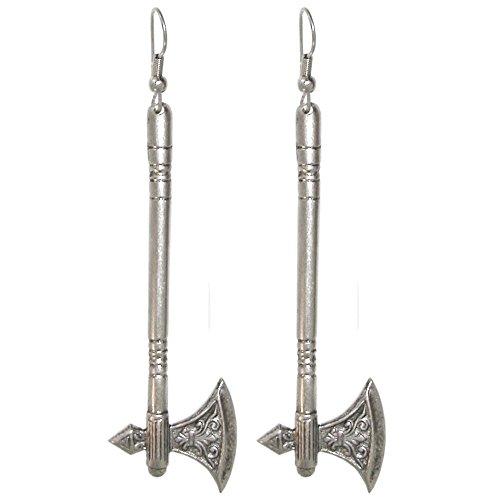 Weapon Earrings, 100% Nickel Free, Made in USA!, Medieval Axe, Halberd in Burnished Silver