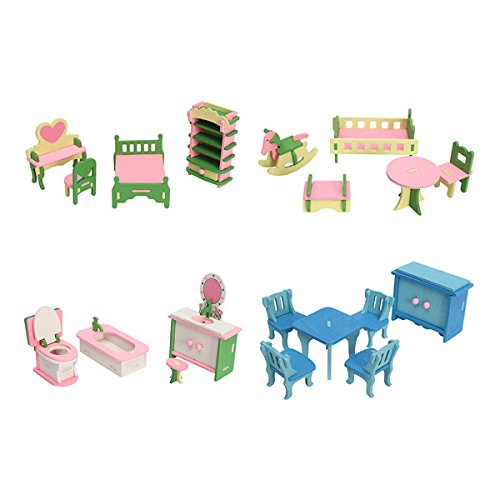 HITSAN 4 Sets of Delicate Wood Dollhouse Furniture Kits for Doll House Miniature One Piece by HITSAN (Image #6)