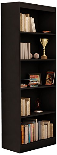 South Shore Jazz 5-Tier Open Bookcase, 72-Inch, Black by South Shore