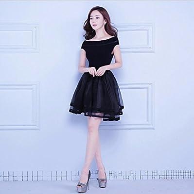 WBXAZL Vestido de Noche, Vestido Negro Estilo Coreano, Vestido de ...