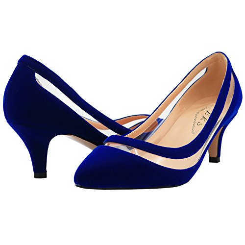 EKS Damen Lqoqop Solide Farbe Spitz Schuhe Comfrotable Low Heels Dress Pumps Blau-Wildleder