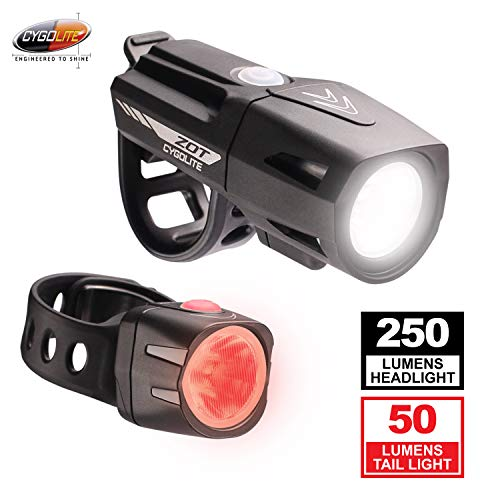 Cygolite Zot 250 Lumen Headlight & Dice TL 50 Lumen Tail Light USB Rechargeable Bicycle Light Combo Set