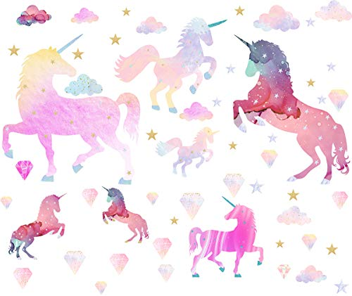 Easma Unicorn Decals Unicorn Wall Decals Girls Wall Decals Bedroom Wall Decor Removable Peel and Stick Wall Stickers 7pcs Galaxy Unicorns
