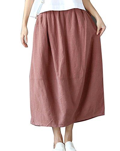Jupe Longue Femme Vintage Jupes De Partie Taille Elastique Jupe en Lin Elgante Jupe Rouge