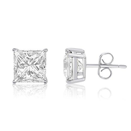 Square Princess Cut 3mm white Cubic Zirconia .925 Sterling Silver Basket Setting Unisex Stud (3mm Princess Stud Earrings)