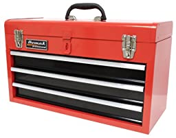 Homak RD01032101 3-Drawer Tool Box/Chest, Red