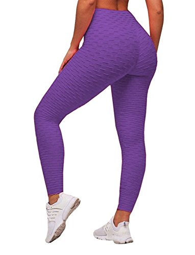 SEASUM Women's High Waist Yoga Pants Tummy Control Slimming Booty Leggings Workout Running Butt Lift Tights XL (Booties Cotton)