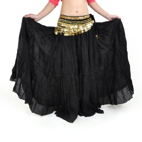 BellyLady Womens Belly Dance 8 Yard Skirt Vogue Bohemia Skirt Gypsy Maxi Skirt-Black