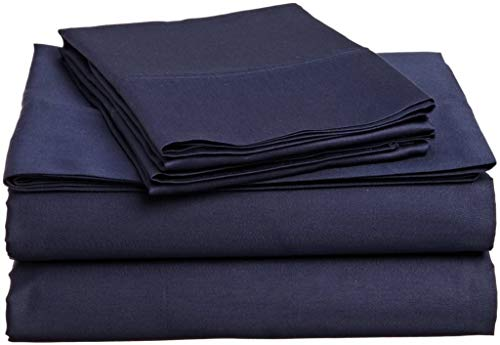 4 Piece Sheet Set - 100% Egyptian Cotton, 400 Thread Count, 17 Inch Deep Pocket- Long-Staple Combed Cotton, Soft & Silky Sateen Weave- Navy Blue Solid, Short Queen Size.