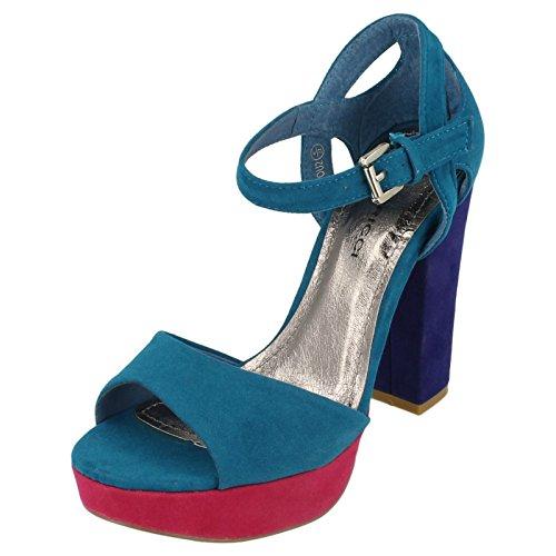 Barricci Ladies High Heel Platform Sandals Fuchsia Bx6klGP